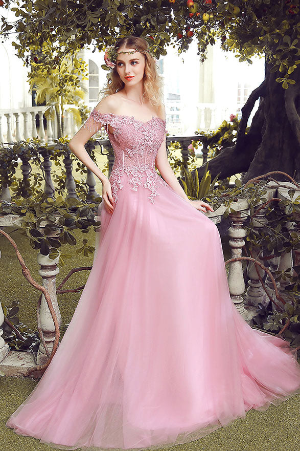 Pink off shoulder lace tulle long prom dress, pink bridesmaid dress ...