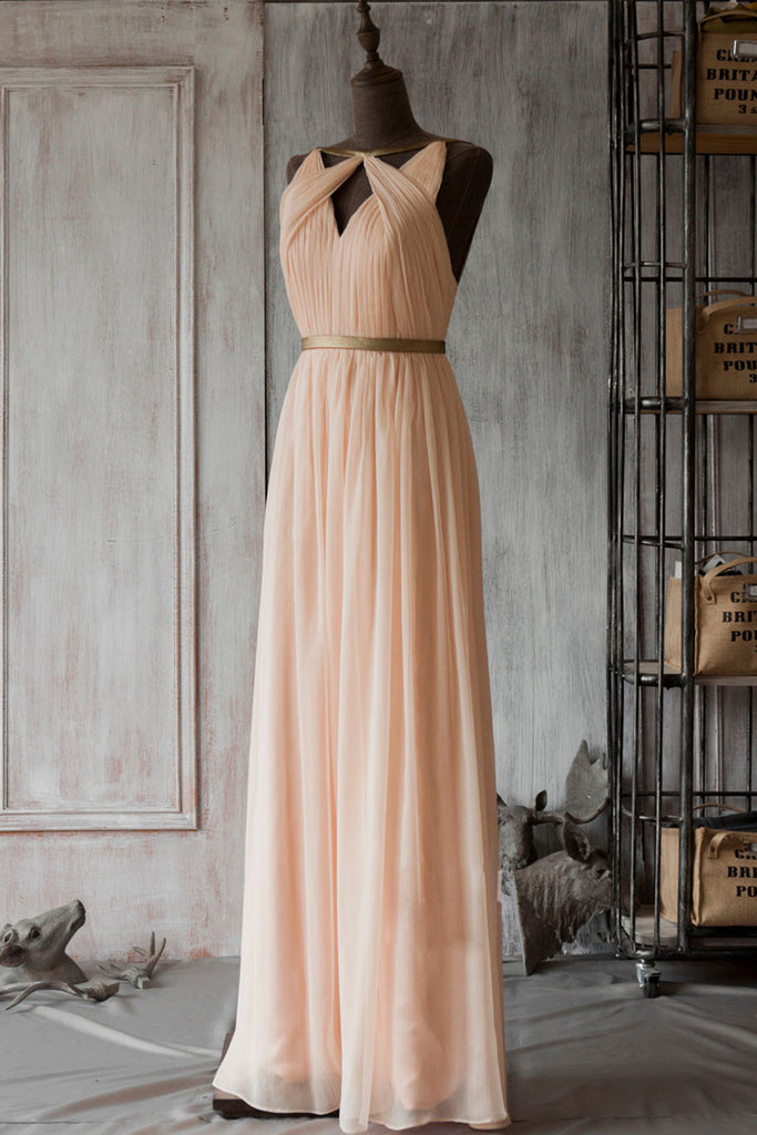 Simple pink  chiffon long prom dress, bridesmaid dress
