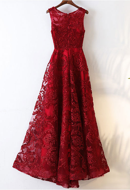 Burgundy round neck lace long prom dress, burgundy evening dress