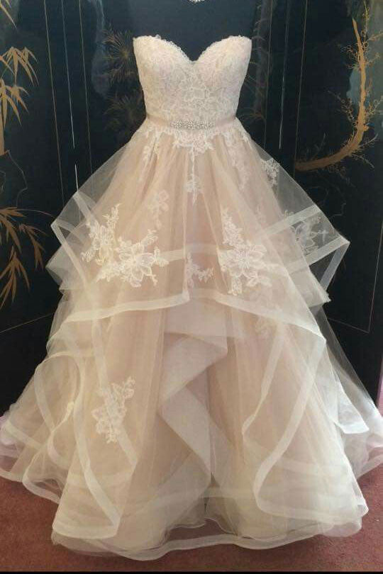 Champagne tulle lace long prom dress, champagne wedding dress