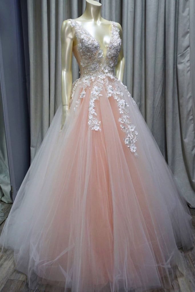 Pink v neck tulle lace applique long prom dress, pink tulle evening dress