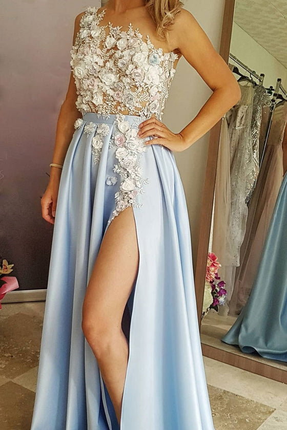 Blue lace satin long prom dress, blue evening dress
