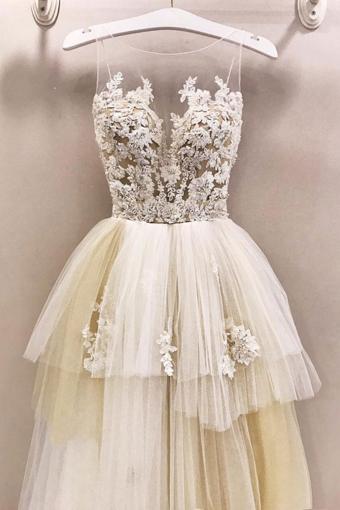 Unique round neck champagne tulle lace long prom dress, wedding dress