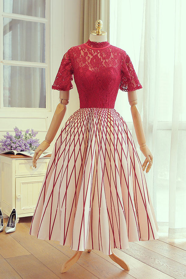 Unique red lace tea length prom dress, red lace evening dress