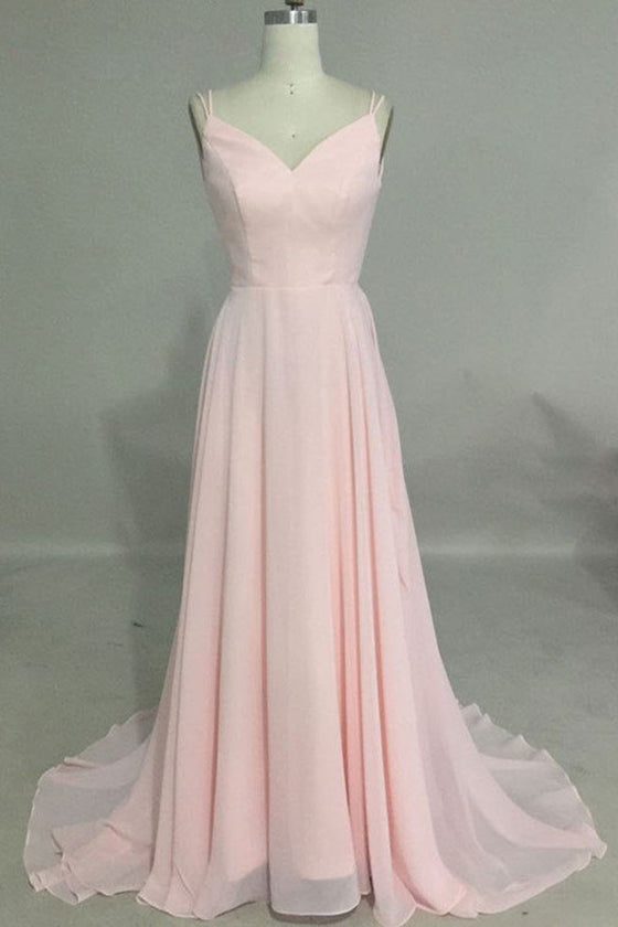 Simple v neck pink long prom dress, backless pink evening dress