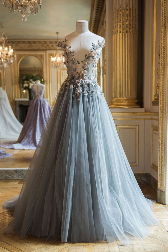 Elegant round neck tulle lace applique long prom dress, gray evening dress