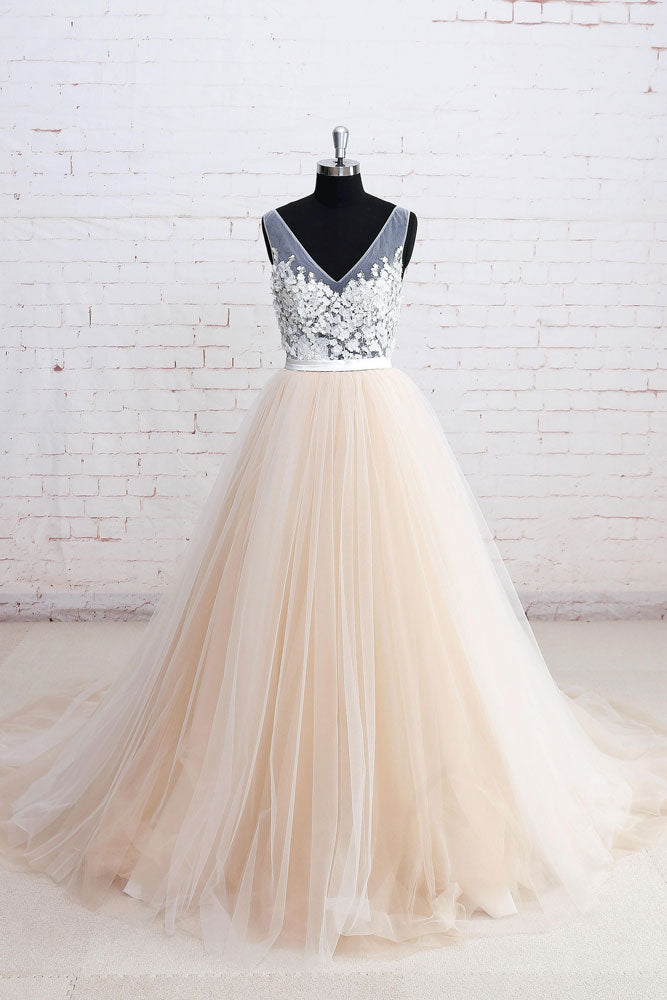 Champagne v neck lace tulle long prom dress, champagne wedding dress
