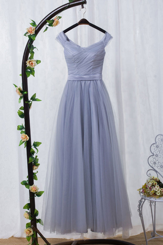 Gray tulle off shoulder long prom dress, tulle evening dress