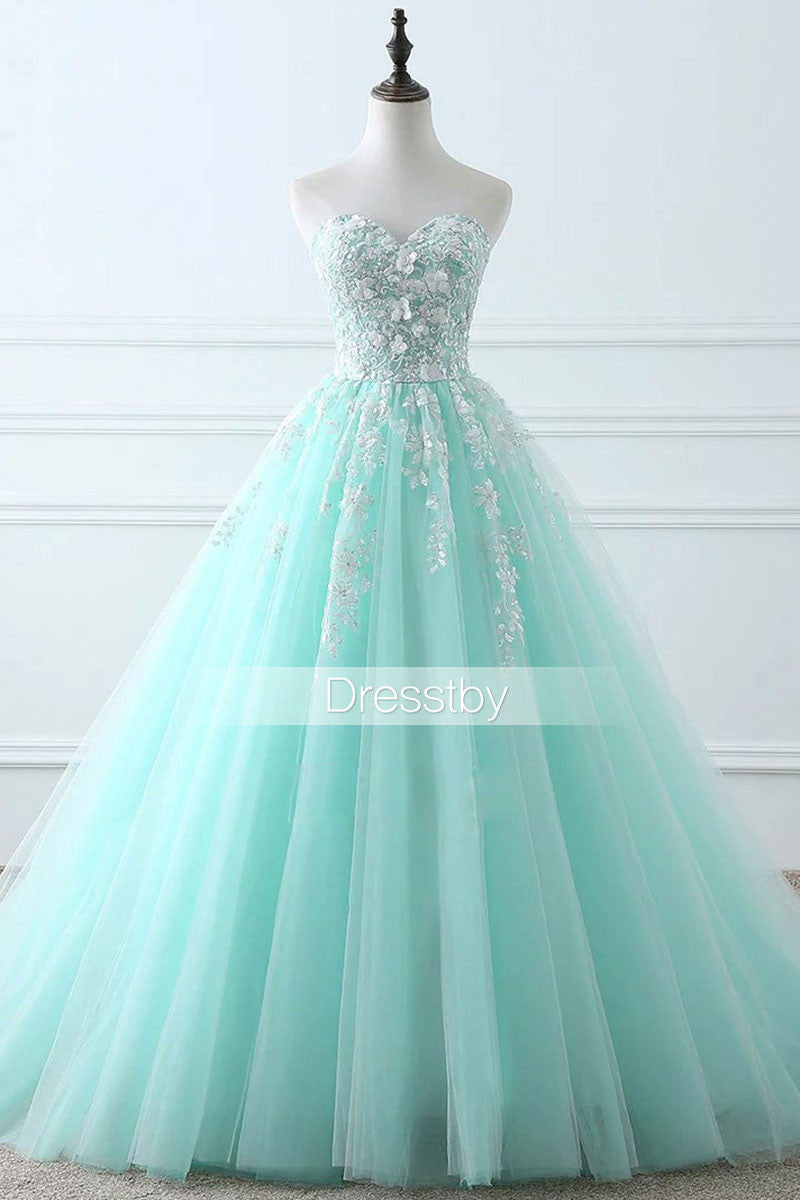 Green Sweetheart tulle lace long prom dress, evening dress - dresstby