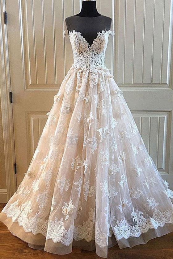 Champagne round neck lace long prom dress, champagne wedding dress
