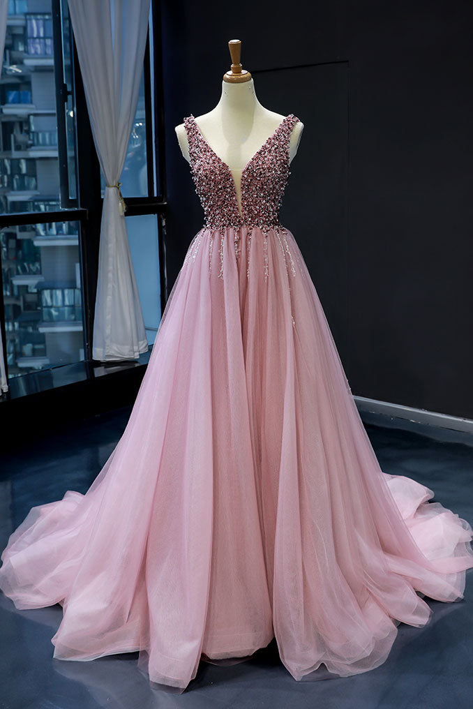 Pink tulle sequin v neck long prom dress tulle sequin pink formal dress