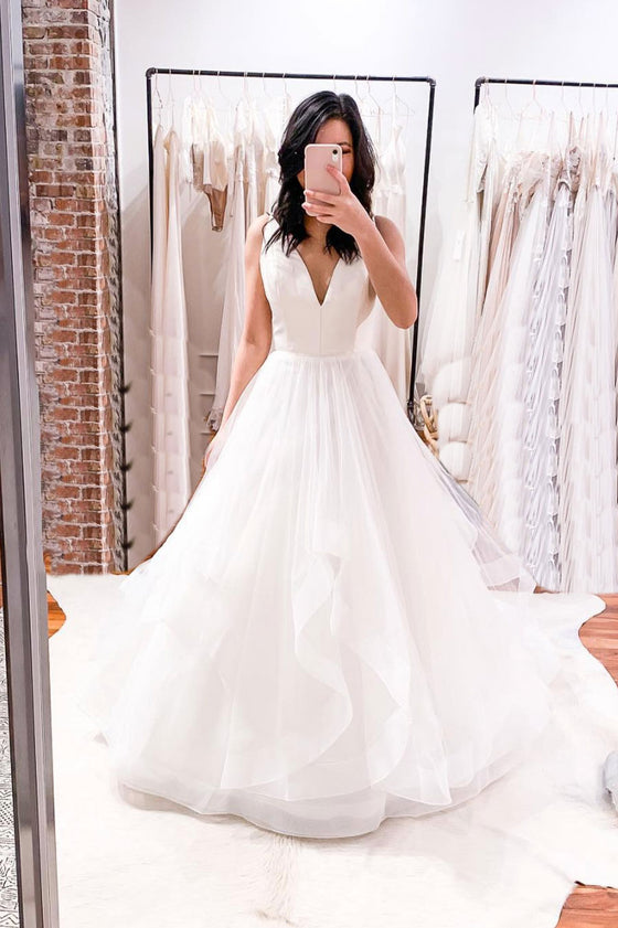 Simple white v neck tulle long prom dress white tulle formal dress