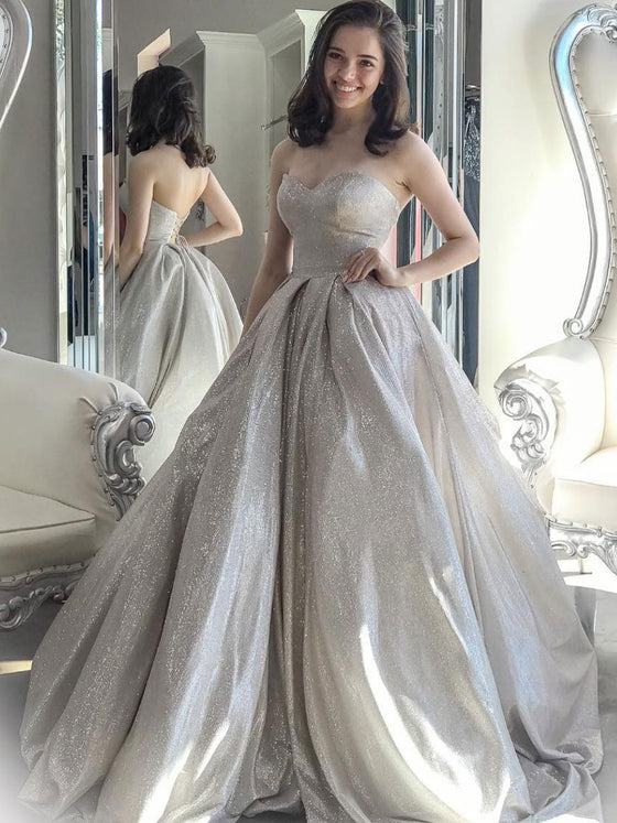 Gray sweetheart neck tulle sequin long prom dress gray formal dress