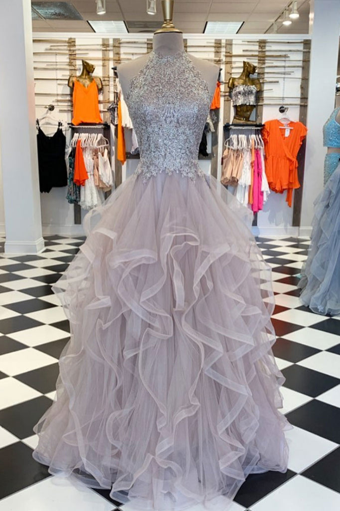 Unique high neck tulle lace long prom dress lace evening dress
