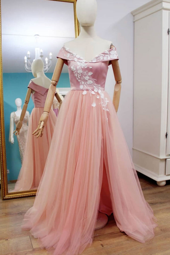 Pink tulle off shoulder prom dress, pink bridesmaid dress