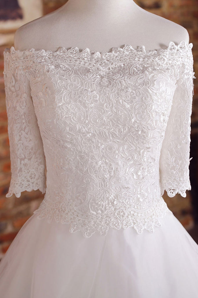 White tulle lace long wedding dress, lace wedding gown, bridal dress