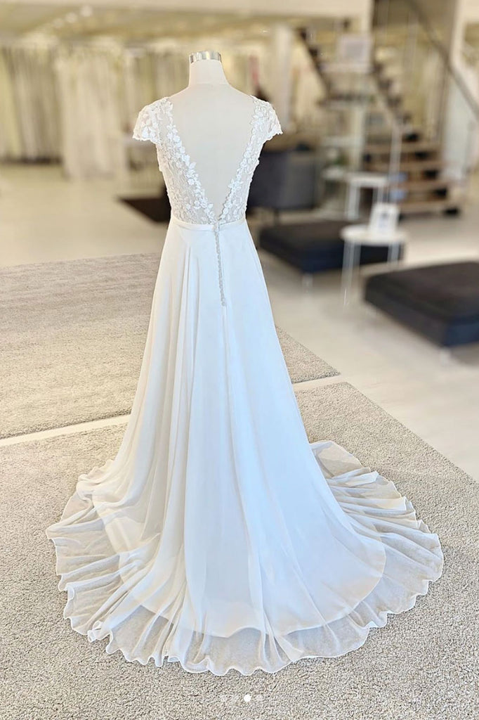 White v neck lace chiffon long prom dress, white evening dress