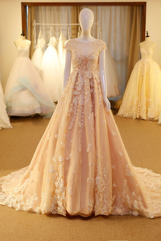 Unique round neck tulle lace applique pink long prom dress, pink wedding dress