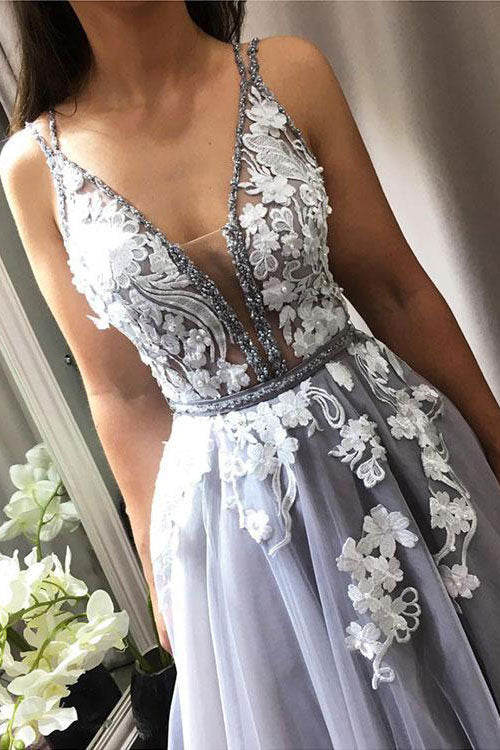 Gray v neck lace tulle prom dress, gray tulle evening dress