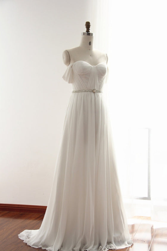 White sweetheart neck chiffon long prom dress, white bridesmaid dress