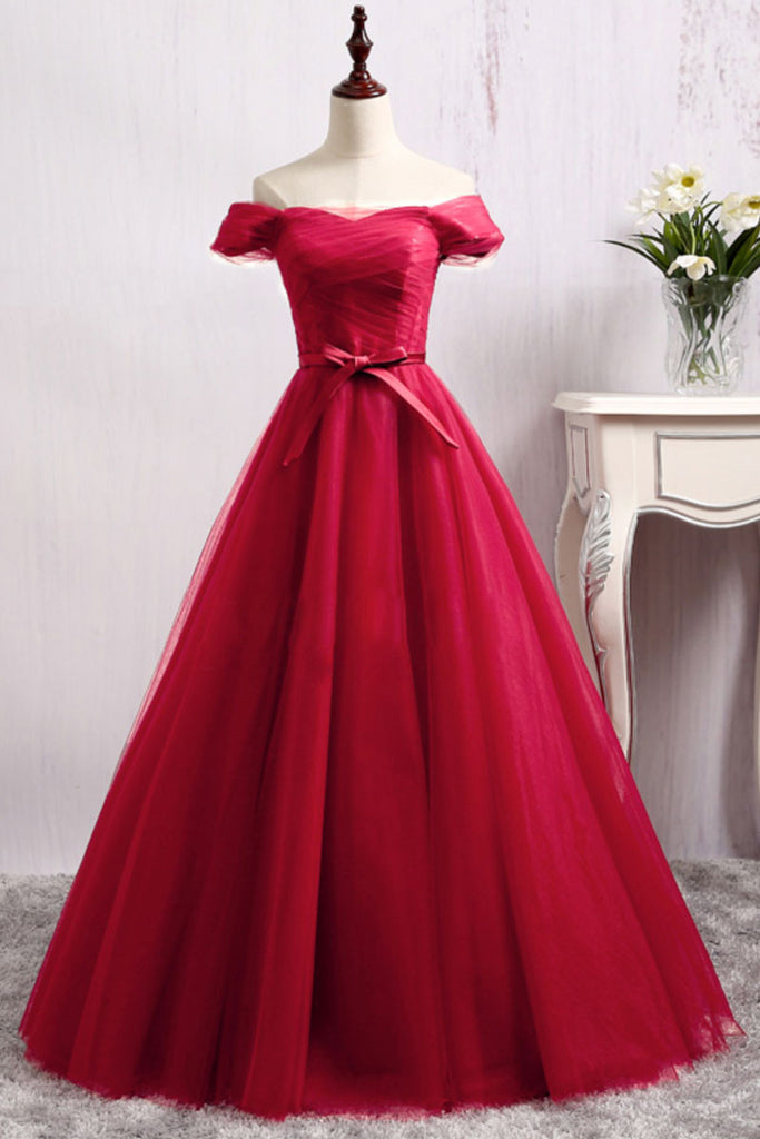 burgundy tulle off shoulder long prom dress, burgundy tulle evening dress