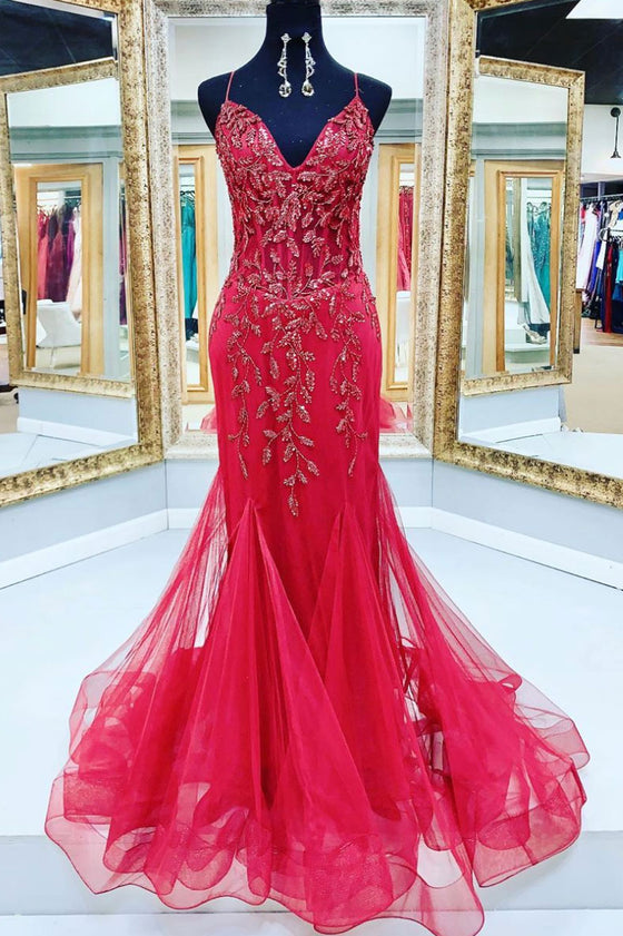 Red v neck tulle sequin beads mermaid long prom dress