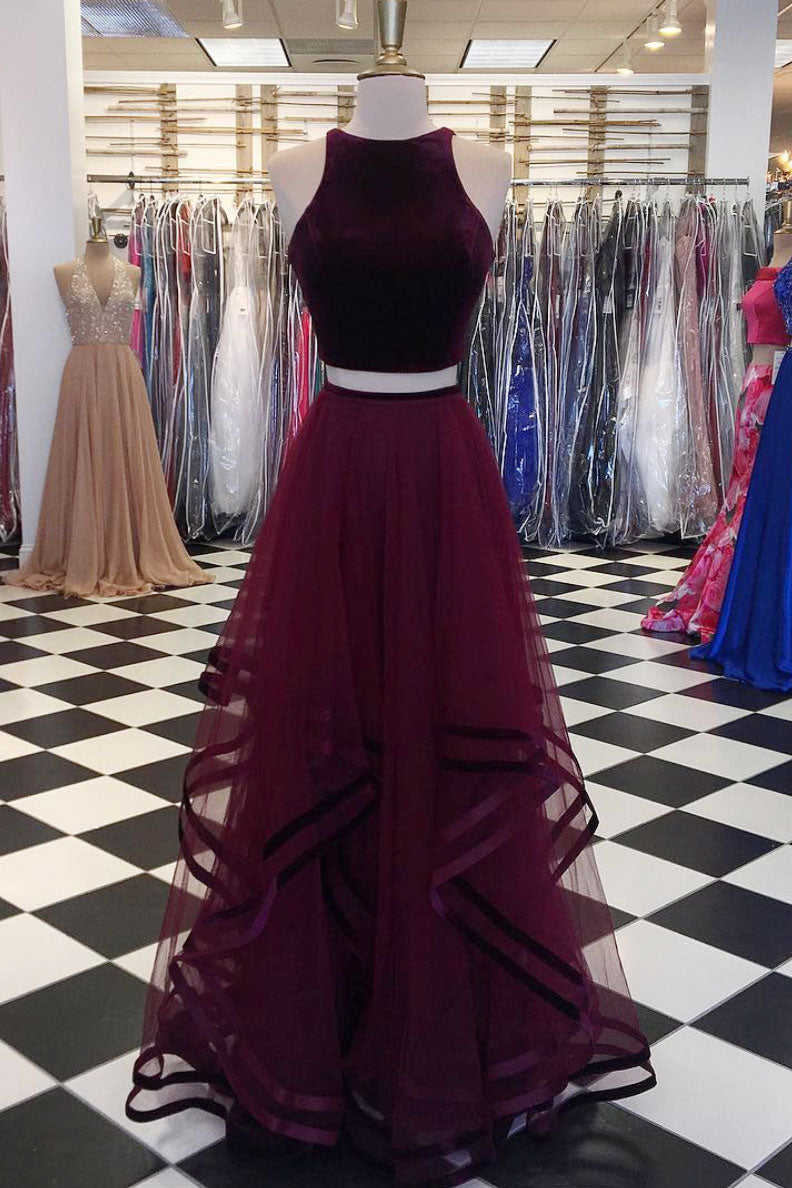 Simple burgundy two pieces long prom dress, burgundy evening dress