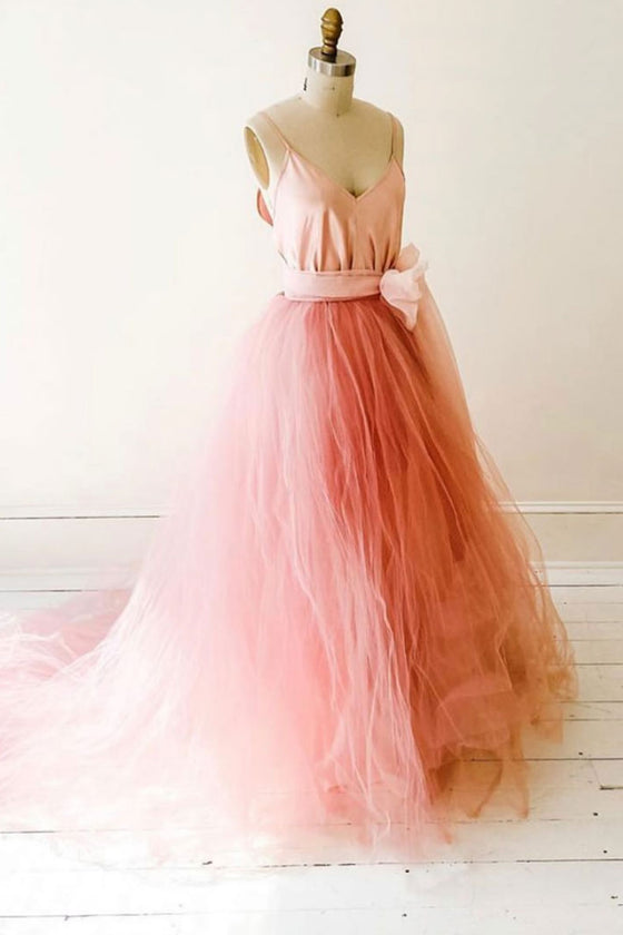 Pink v neck tulle long prom dress pink tulle formal dress