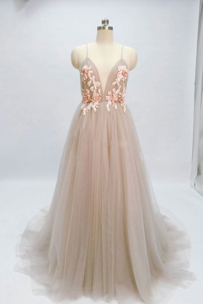 Champagne v neck tulle long prom dress, tulle evening dress