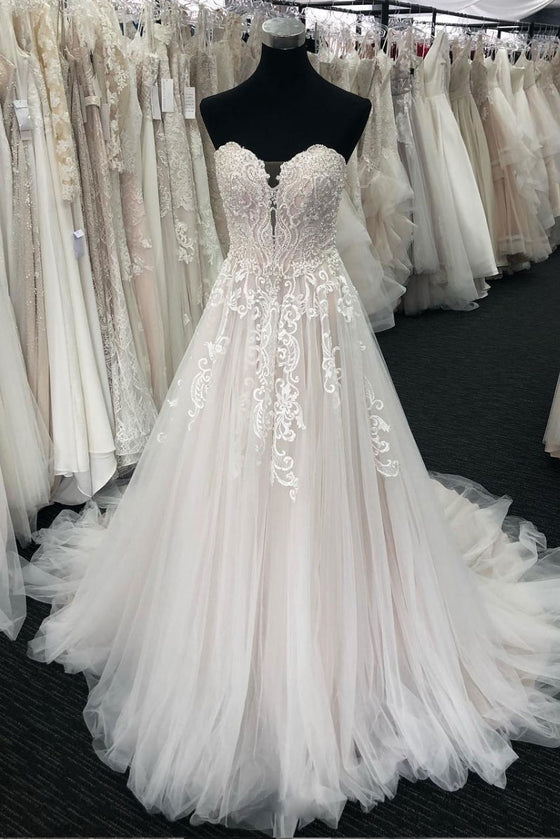 Unique sweetheart neck tulle lace long prom dress, tulle wedding dress