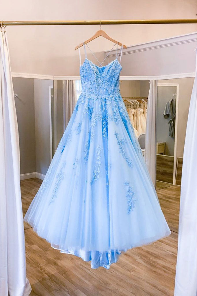 Blue round neck tulle lace long prom dress tulle lace formal dress