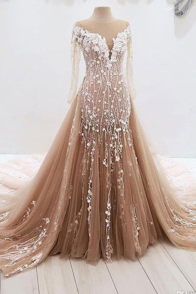 Champagne tulle lace long prom dress, champagne tulle evening dress