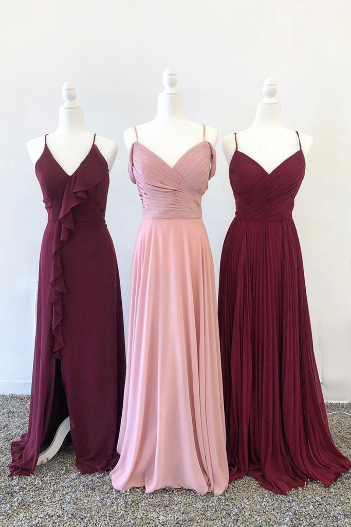 Simple sweetheart chiffon long prom dress chiffon bridesmaid dress
