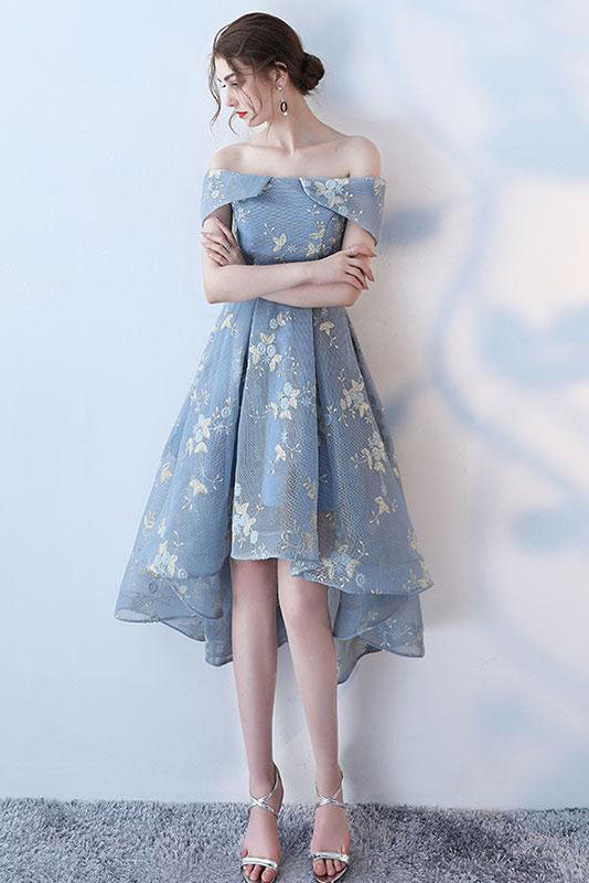 Gray blue lace short prom dress blue lace homecoming dress