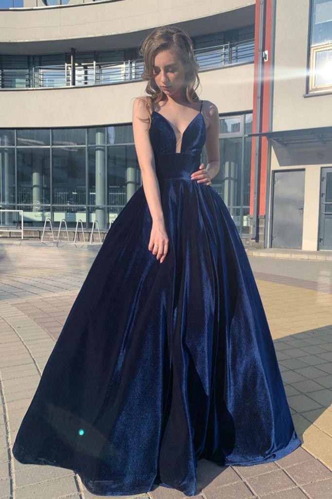 Simple v neck blue long prom dress blue formal dress