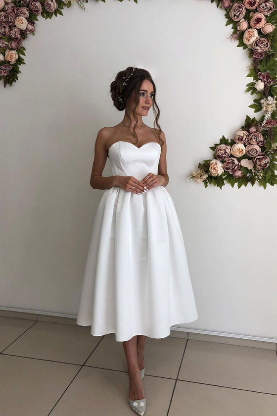 Simple white sweetheart satin short bridesmaid dress white prom dress
