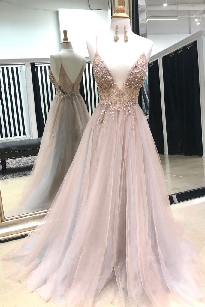 Pink v neck tulle lace beads long prom dress, pink evening dress