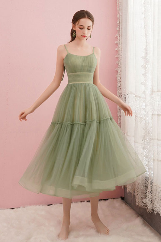 Simple green tulle short prom dress green homecoming dress