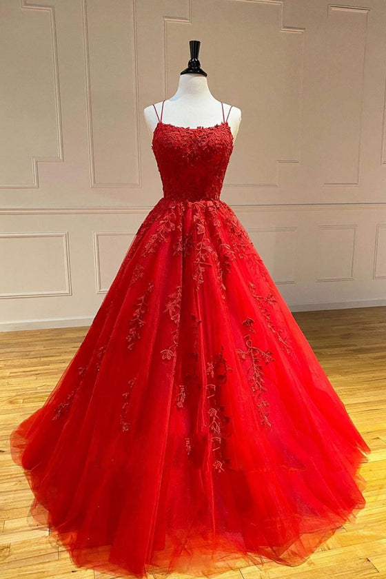 Red tulle lace long prom dress lace tulle formal dress