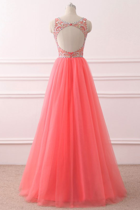 Pink round neck tulle sequin long prom dress, pink evening dress