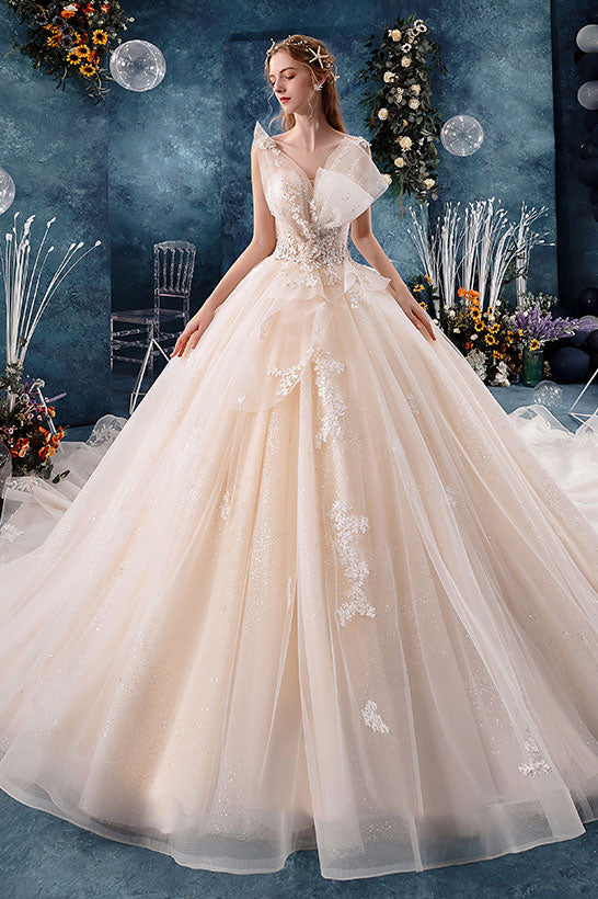 Champagne tulle lace long wedding dress, bridal dress