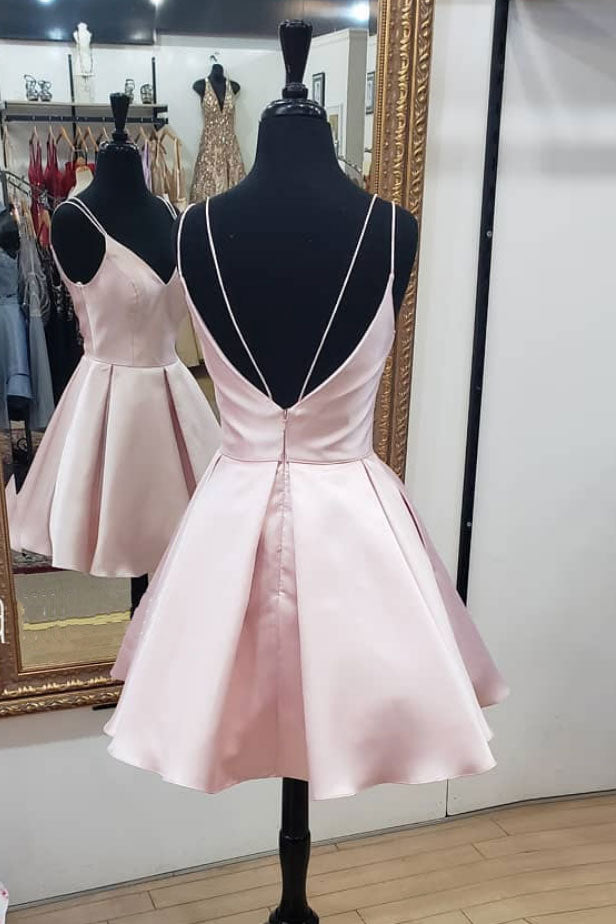Pink v neck short prom dress, pink homecoming dress