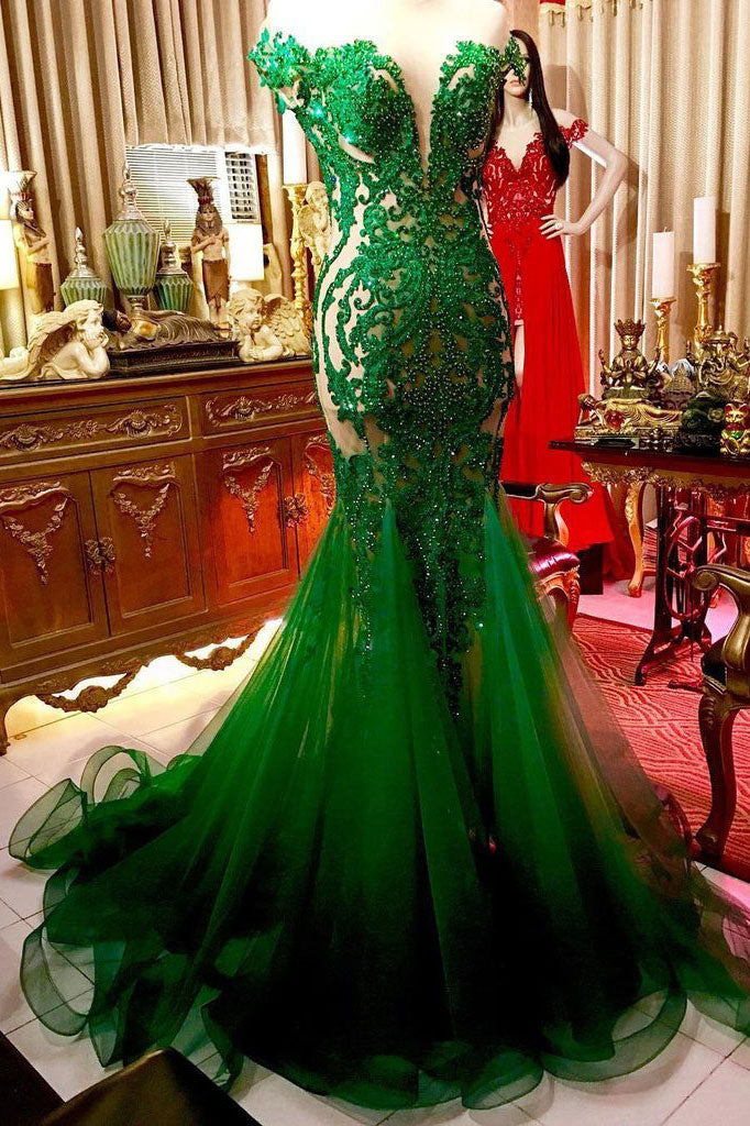 Green lace tulle long prom dress, green lace evening dress