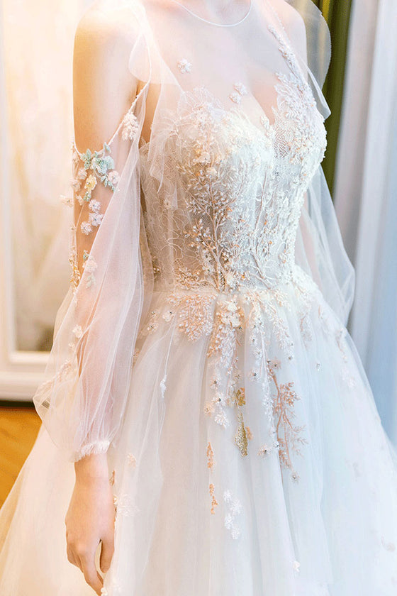 Unique round neck tulle lace long wedding dress. bridal dress