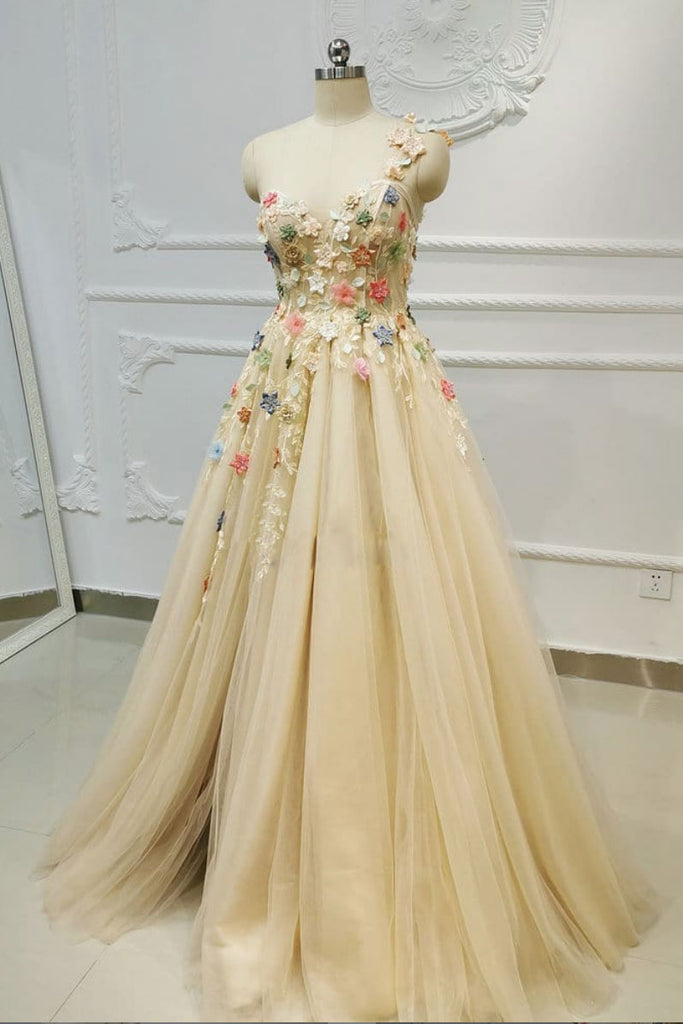 Champagne tulle lace one shoulder long prom dress lace evening dress