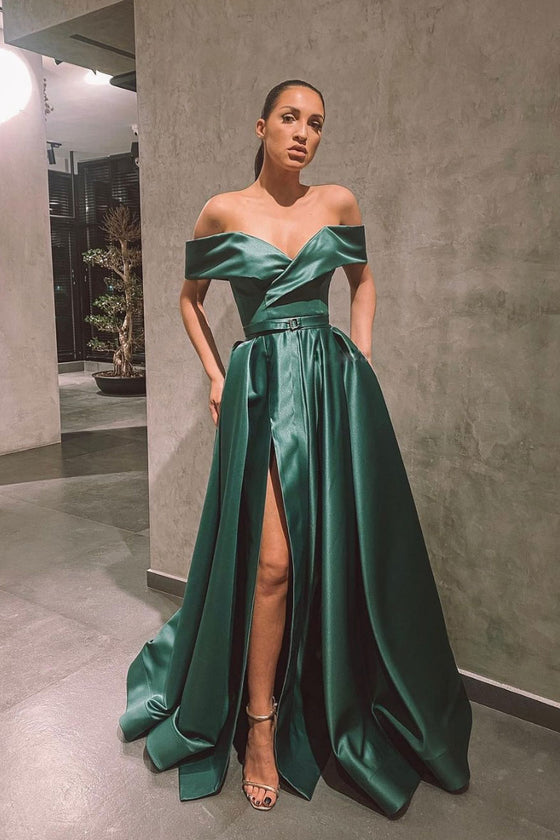 Green off shoulder satin long prom dress green formal dress