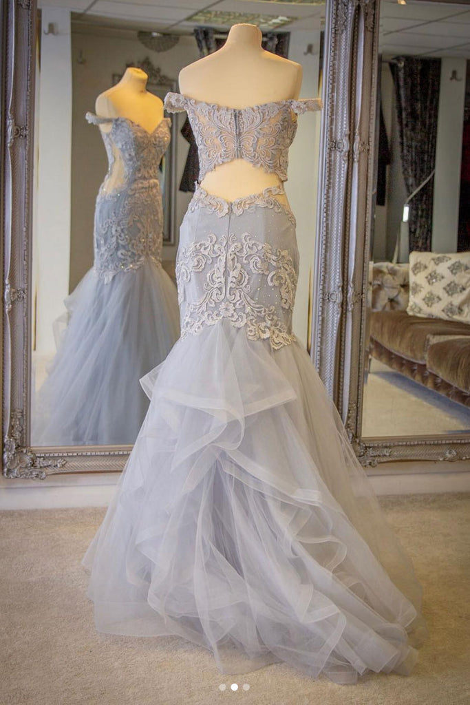 Gray tulle lace mermaid long prom dress, gray evening dress