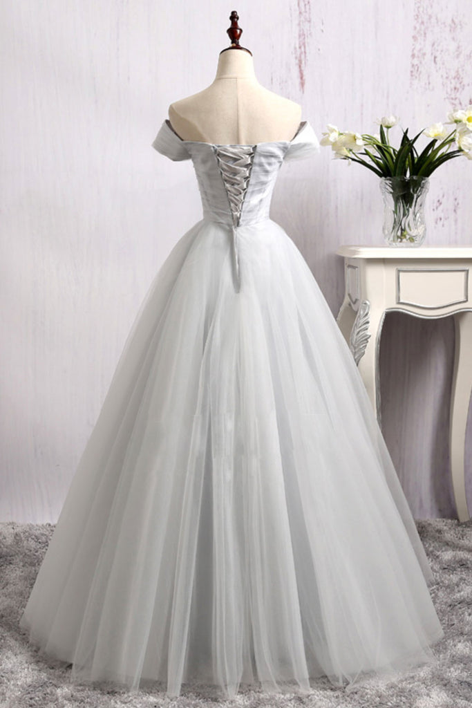 Gray tulle long prom dress, gray tulle bridesmaid dress