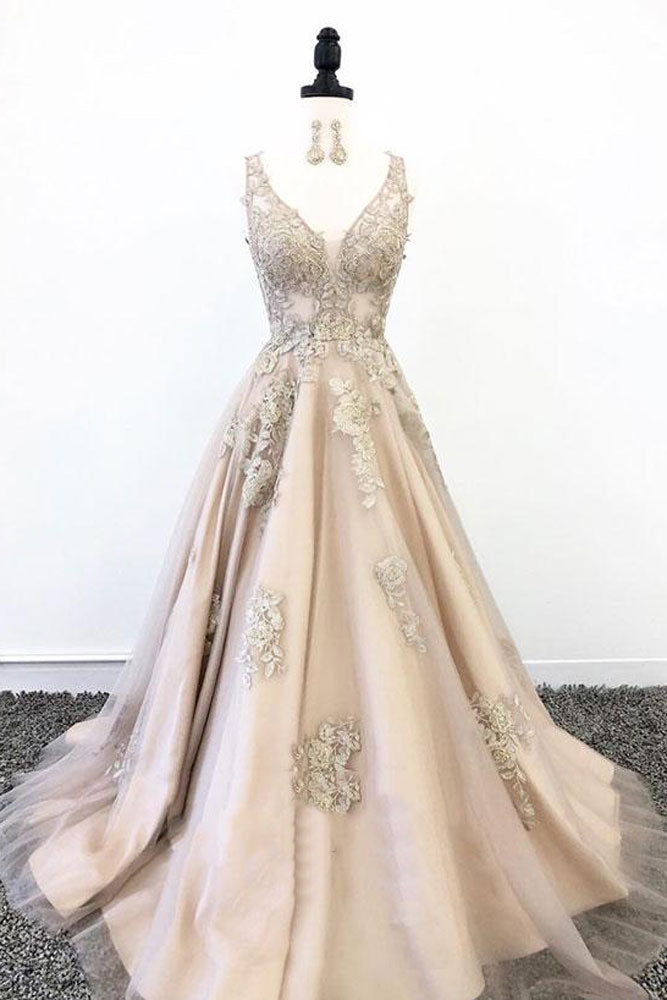 Champagne v neck tulle lace long prom dress, tulle lace evening dress