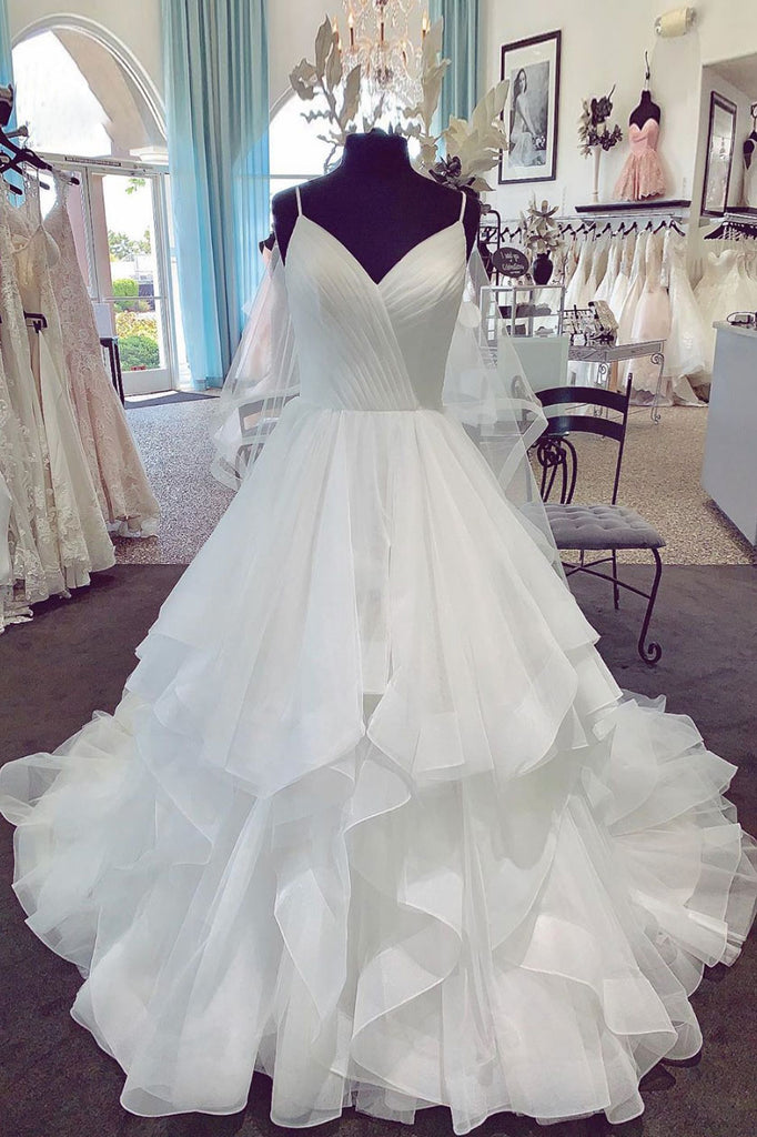 White v neck tulle long prom dress, white wedding dress